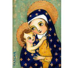 Madre y niño Maria y bebé Jesús icónica religiosa imprimir