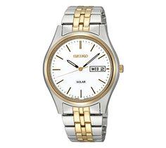 3ff8d77c607 Seiko Men s Two-Tone White Dial Solar Calendar Watch Relógios De Senhor