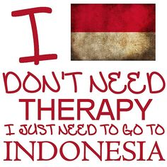 I Don't Need Therapy, I Just Need To Go To Indonesia T Shirt