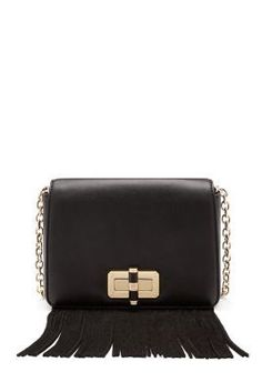 DVF 440 Gallery Bellini Fringe Leather Crossbody Bag in black