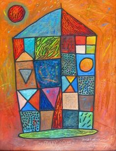 Painting Halva Michal - Old House: framed painting - mixed media on hardboard, signed and dated bottom middle: Michal Halva image size: 31 x cm, frame size: 48 x 41 cm Painting Gallery, Painting Frames, Frame Sizes, House Painting, Artist, Image, Amen, Artists