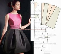 Moldes Moda por Medida - needs to be translated but AWESOME site Sewing Paterns, Dress Sewing Patterns, Sewing Patterns Free, Clothing Patterns, Free Pattern, Fashion Sewing, Diy Fashion, Ideias Fashion, Fashion Details