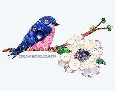 8x10 Blue Bird Button Art Button Bluebird Art Button Dogwood Bloom Art Swarovski Art