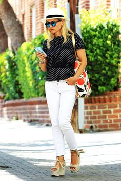 Reese Witherspoon runs some errands in an adorable polka-dot and mixed print outfit — ripped from the webpages of her Draper James e-commerce venture. #refinery29 http://www.refinery29.com/2015/07/91622/reese-witherspoon-spotted-shirt-outfit#slide-1