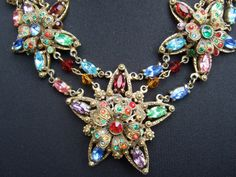 Reserved for Rose Sale Pending 1930s Exqusite Crystal Jeweled Star Burst Czech Necklace