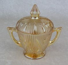 Vintage Jeannette Glass-Iris & Herringbone Iridescent Flora Gold Covered Sugar Bowl