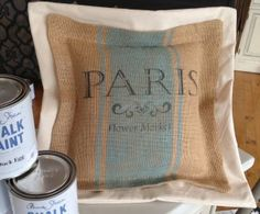 Stenciled pillow using Chalk Paint® decorative paint by Annie Sloan - Metheny Weir
