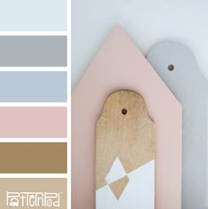 Muted pastel palette. very Shabby Chic vibe. This would be good for bathrooms or bedrooms.