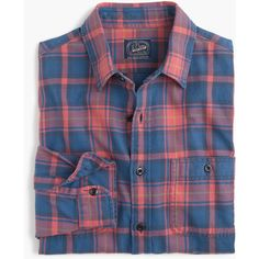 J.Crew Midweight flannel shirt in red and blue plaid ($80) ❤ liked