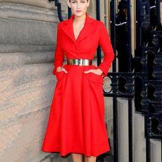 red-notched-collar-high-waist-pockets-women-a-line-dress-2015-solid-elegant-ladies-autumn-font.jpg (800×800)