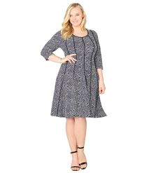 AVENUE Women's Geo Seamed Fit and Flare Dress >>> You can find out more details at the link of the image. (This is an affiliate link) #CasualDress