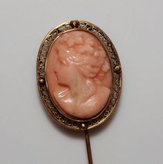Antique 14k YG High Relief Carved Coral Cameo Stick Pin from jenandivintagejewels on Ruby Lane