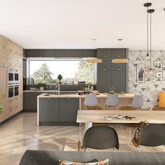 Une cuisine grise dans la tendance scandinave. Le gris, dans une cuisine, est tellement reposant qu'il va avec toutes vos envies déco. Si vous craquez pour la décoration scandinave, vous opterez pour des matières naturelles et brutes comme le bois, parfait pour habiller certains de vos placards et votre plan de travail. Pour la lumière, de jolies suspensions toutes simples seront du plus bel effet. Avec une cuisine ouverte sur la pièce de vie, il faut penser épuré, et l'avantage qu'offre le…