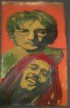 """JOHN OG BOB"" Fabric paint, painted by Aagot.no, 2012 #aagotno #art #bobmarley #bob #johnlennon"