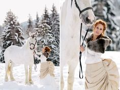 A white wedding with a white horse, a white wedding dress in the white snow. A little fairytale perhaps?  Loved by we.artanna.be