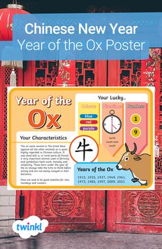 Explore Chinese New Year with this colourful display poster, featuring information on the Year of the Ox, including characteristics of people born in that year, lucky colours, directions and numbers, the Chinese symbol for 'ox' and the years the ox will fall on! Click to download and find more Chinese New Year teaching resources over on the Twinkl website. #chinesenewyear #cny #yearoftheox #teachingresources #teaching #twinkl #twinklresources #parents #classroomdisplay #homeeducation… Chinese New Year Zodiac, Zodiac Wheel, The Great Race, Lucky Colour, Chinese Symbols, Classroom Displays, Ox, Red Purple, Thing 1 Thing 2