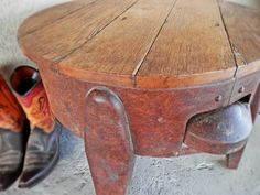Amazing round reclaimed oak and metal table