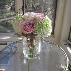 Beautiful Rose And Calla Lily Arrangement In Mason Jar With Faux Water Pink Arrangement