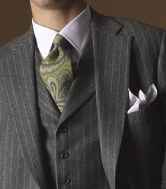 Gray pinstripe three-piece