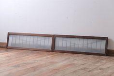 古民具・骨董 古い木製のモダンなすりガラス欄間2枚セット(明り取り)