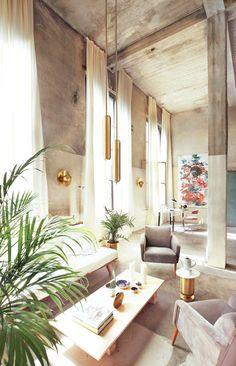 Ewelina Makosa & Jan Garncarek's Berlin Studio Revels in its Industrial Heritage Read more:. Berlin, Glass Top Desk, Spanish Painters, Tall Ceilings, Modern Chandelier, Source Of Inspiration, Beautiful Kitchens, Lighting Design, Design Projects