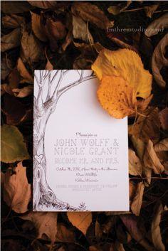 Kohler River Wildlife Wedding | Fall Wedding | Hunting Lodge Wedding | Kohler Wedding Nicole & John's charming hand-illustrated invitation  photo copyright m three studio