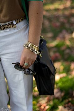 Love the white after Labor Day and the simple-chic arm party!