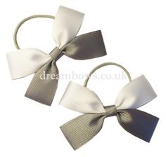 White and grey grosgrain ribbon hair bows on thin bobbles - www.dreambows.co.uk #grosgrainbows #bows #hair #hairbows #girls #fashion #hairstyles