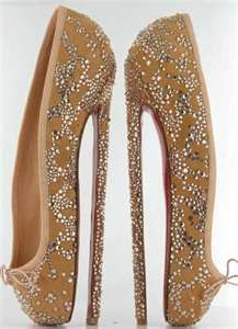 8 inch ballet-inspired spike shoes by Christian Louboutin. Golden silk and  Swarovski crystals with red sole. Created to be auctioned to raise funds  for the ... 81d9abee6d40