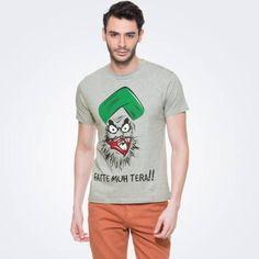 Dove grey T-shirt. Half sleeves. Ribbed round neck. Fatte Muh Tera graphic print at front. starting Rs.299/-  buy here...http://zovi.com/fatte-muh-tera-dove-grey-melange-graphic-t-shirt--11922002801