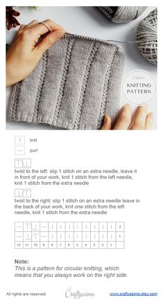 twisted cable and rib stitch knitting pattern Source by Rib Stitch Knitting, Knitting Stiches, Cable Knitting, Herringbone Stitch, Diy Scarf, How To Purl Knit, Knitting Projects, Lana, Knitted Hats