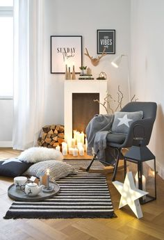"This is how the ""Nordic Fire"" look works: A chimney console is THE Interior -. - This is how the ""Nordic Fire"" look works: A fireplace console is THE Interior secret weapon to conj - Decor, Room, Hygge Decor, Fireplace Console, Skandi Style, Home Decor, Trendy Home, Den Furniture Layout, Furniture Layout"