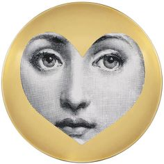 Fornasetti Tema e Variazioni Wall Plate Gold - No. 41 ($316) ❤ liked on Polyvore featuring home, home decor, metallic, heart shaped plates, contemporary home decor, gold home decor, black and white plates and fornasetti plates