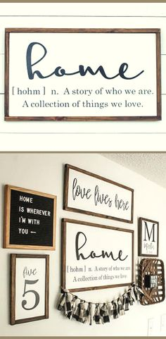 Home Sign - Home Definition Wood Sign - Farmhouse Sign - Wood Sign, Rustic sign, Rustic wall decor, Living room […] Rustic Curtains, Rustic Walls, Rustic Wall Decor, Rustic Farmhouse Decor, Farmhouse Signs, Rustic Signs, Farmhouse Style, Rustic Gallery Wall, Living Room Gallery Wall