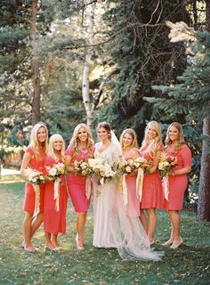This Peach & Coral Color Palette is breathtaking! See the wedding on SMP: http://www.StyleMePretty.com/2014/01/30/salt-lake-city-greenhouse-wedding/ Ciara Richardson Photography