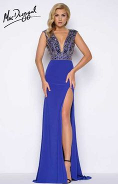 Be bold and make a statement in this Mac Duggal 66048M jersey dress. There is a high slit going up the left leg. The back is completely open. This dress is sleeveless and has a deep v neckline. The whole bodice is beaded.