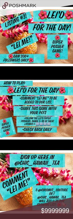 """Get LEI'D ALLL DAY LONG! Comment """"LEI ME"""" to be added to the list & featured  as getting LEI'Dright here@chic_hawaii_tea  ⭐️READ the slides to play ✋Must be PC ❤️Each day we will delicately select 3 SPs to get LEI'D  PUA (flower)=@chic_hawaii_tea's pick  IWI (shell)=@coconut_couture's pick &  便NIU (coconut): REVISIT   Share a min of 5 listings from each closet feat. as a thanks for their followers. Other"""
