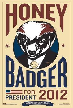 Honey Badger for President 2012, cus he don't care!!
