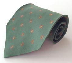 Giorgio Armani Cravatte Neck Tie Green Red Yellow Geometric MADE IN ITALY #GiorgioArmani #NeckTie