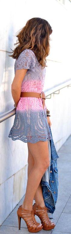 Gradient Crochet Lace Dress , Denim , High Heels C...