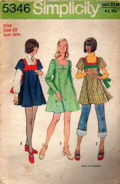 Simplicity 5346 Womens Square Neck Mini Dress or Tunic Top Vintage Sewing Pattern Size 10 Bust 32 inches - Simplicity 5346 Womens Square Neck Mini Dress or Tunic Top Vintage Sewing Pattern Size 10 Bust - Vintage Dress Patterns, Clothing Patterns, Vintage Dresses, Vintage Outfits, Seventies Fashion, 70s Fashion, Vintage Fashion, Fashion Spring, Moda Vintage
