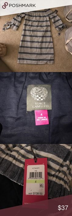Vince Camuto Dress Off-the-shoulder dress, it is a light denim color, but not denim material. Super cute, new with tags!! Would look so cute with wedges. MSRP $138 Vince Camuto Dresses Mini