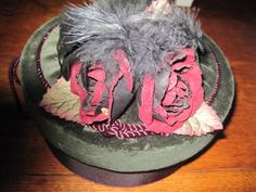 """hat"" box in velvet with ribbon roses and feathers. sorry, this one is sold."
