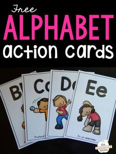 These alphabet action cards are so much fun! Use them with kids in preschool and kindergarten to reinforce letter recognition and letter sounds. What a fun free printable! Letter Activities, Phonics Activities, Learning Activities, Kinesthetic Learning, Learning Time, Indoor Activities, Learning Spanish, Toddler Activities, Teaching Resources