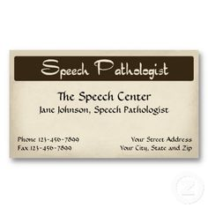 Speech Pathologist Therapist Business Card. Check out more business card designs at http://www.zazzle.com/business_creations or at http://www.zazzle.com/businesscardscards