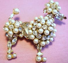 Schreiner Rhinestone and Faux Pearl Poodle Brooch