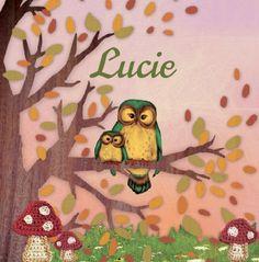 Geboortekaartje Lucie- Herfst kaartje uiltjes op een tak en vallende blaadjes - Petit Konijn