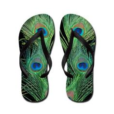 Green and Black Peacock Feather Flip Flops