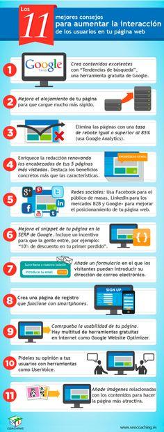 11 consejos para aumentar la interacción en tu web #infografia #infographic #marketing