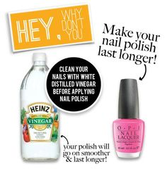 Interesting.... Should work, vinegar is acidic, should dry some oil off nail helping polish to adhere better. I shall try and see! Polish hates my nails!